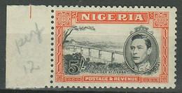 Nigeria 1938-51 KGVI 5/- Black & Orange Perf.12 SG 59c ☀ MNH(**) - Nigeria (...-1960)