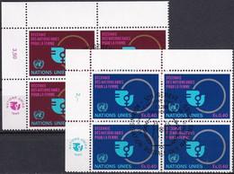 UNO GENF 1980 Mi-Nr. 89/90 Eckrandviererblocks O Used - Aus Abo - Gebraucht