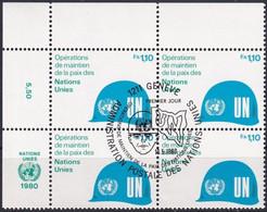 UNO GENF 1980 Mi-Nr. 91 Eckrandviererblock O Used - Aus Abo - Gebraucht