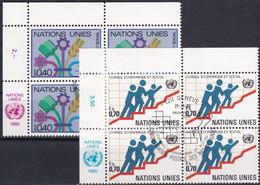 UNO GENF 1980 Mi-Nr. 94/95 Eckrandviererblocks O Used - Aus Abo - Gebraucht