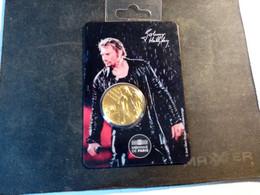 Mini-Médaille Johnny Hallyday - Série Pluie. Dorée. Sous Blister - Other