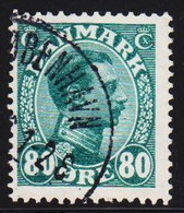 1915. King Christian X. 80 Øre Blue-green.  (Michel 74) - JF510021 - Used Stamps