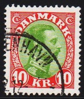 1928. King Christian X. 10 Kr. Yellow-green/red (Michel 176) - JF510022 - Used Stamps
