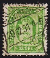 1875. Official. 32 Øre Green. Perf. 14x13½  (Michel D7YA) - JF510025 - Dienstpost