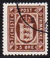 1923. Official. 5 Øre Brown. Perf. 14x14½, Wm. Multiple Crosses  (Michel D15) - JF510026 - Dienstpost