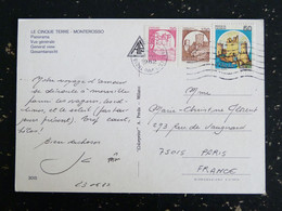 LETTRE ITALIE ITALIA AVEC YT 1457a ET 1437 ROULETTE CHATEAU SANTA SEVERA LOMBARDI ENNA - LE CINQUE TERRE MONTEROSSO - 1981-90: Storia Postale