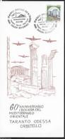 """ANNULLO SPECIALE """"ORBETELLO (GR)*25.6.1989* MOSTRA AEROFILATELICA-TARANTO ODESSA ORBETELLO-60° ANNIV. CROCIERA.... - 1981-90: Storia Postale"""