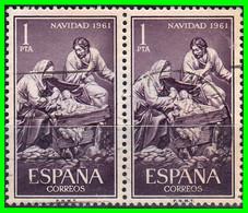 ESPAÑA -&- (EUROPA) PAREJA DE SELLOS AÑO 1961 -  NAVIDAD - 1961-70 Storia Postale