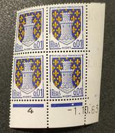 N° 1351A  Avec Oblitération De 1964, Bloc De 4 Avec Coins Datés  TB - 1960-1969