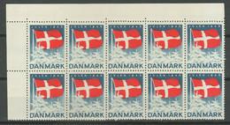 Denmark Christmas Seal 1945 ☀ MNH Block Of 10 - Ungebraucht