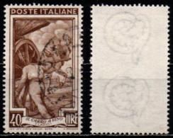 Italia Al Lavoro 40 Lire Filigrana Ruota 3 Destra Bassa - 1946-60: Usati