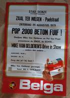 SIGARETTEN BELGA, 1979, DEINZE, ZAAL TER WILGEN, POP 2000 POP FUIF, MIKE VAN GELDEREN - Manifesti