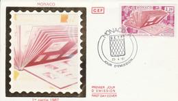 MONACO FDC 1987 JOURNEE DU TIMBRE - FDC