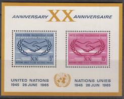 UNO NEW YORK  Block 3, Postfrisch **, 20 Jahre UNO, 1965 - Blocks & Kleinbögen