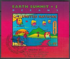 UNO NEW YORK  Block 14 I, Gestempelt, Umweltkonferenz, 1997, Mit Aufdruck: PACIFIC '97 - Blocks & Kleinbögen