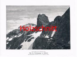 004-3 Brentagruppe Tosahütte Dolomiten Großbild Druck 1899!! - Stampe