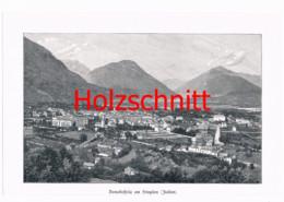 005-2 Domodossola Simplon Bergdorf Piemont Großbild Druck 1899!! - Stampe