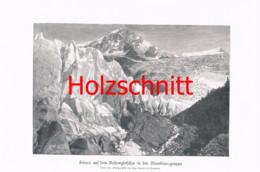 007-2 Seracs Bossongletscher Montblanc Bergsteiger Großbild Druck 1899!! - Stampe