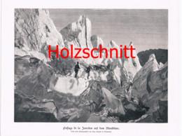 009-3 Gletscherüberschreitung Montblanc Bergsteiger Großbild Druck 1899!! - Stampe