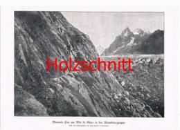 010-4 Mauvais Pas Montblanc Gruppe Großbild Druck 1899!! - Stampe