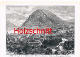 011-2 Kirchner: Lugano See San Salvatore Tessin Großbild HS 1891!! - Stampe