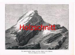 014-4 Nieriker: Wetterstation Säntis Großbild Druck 1891!! - Stampe