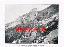 015-3 Glärnisch Schutzhütte SAC Bergsteiger Großbild Druck 1899!! - Stampe