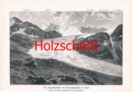 019-2 Rabending: Rauhekopfhütte Ötztal Alpenverein Großbild Druck 1891!! - Stampe