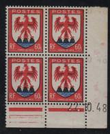 FRANCE  Coin Daté **   N° Yvert  758  22.10.48  Comté De Nice  Neuf Sans Charnière CD - 1940-1949