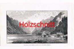 023 Nisle: Plansee Gasthof Tirol Reutte Großbild Druck 1891!! - Stampe