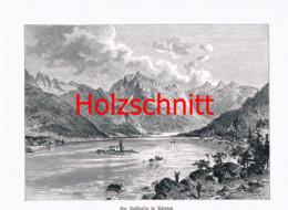 027 Raiblersee Bergsee Lago Del Predil Schiffe Großbild Druck 1899!! - Stampe