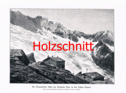 029-2 Warnsdorfer Hütte Gletscher Alpenverein Berge Großbild Druck 1899!! - Stampe