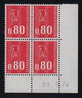 FRANCE  Coin Daté ** Marianne De Becquet  0,80  23.9.74  N° Yvert 1816  Neuf Sans Charnière CD - 1970-1979