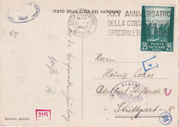 VATICAN 1942 CARTE POSTALE  CENSUREE - Lettres & Documents