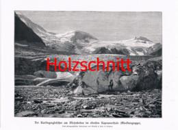 030-3 Karlingergletscher Bergsteiger Großglockner Großbild Druck 1899!! - Stampe