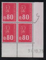 FRANCE  Coin Daté ** Marianne De Becquet  0,80 31.10.75  N° Yvert 1816  Neuf Sans Charnière CD - 1970-1979