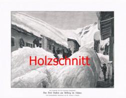 033-2 Dorf Stuben Im Schnee Arlberg Großbild Druck 1899!! - Stampe