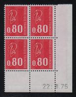 FRANCE  Coin Daté ** Marianne De Becquet  0,80  22.8.75  N° Yvert 1816  Neuf Sans Charnière CD - 1970-1979