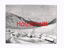 034-3 Klostertal (Stuben ?) Schnee Arlberg Großbild Druck 1899!! - Stampe