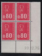 FRANCE  Coin Daté ** Marianne De Becquet  0,80  20.12.75  N° Yvert 1816  Neuf Sans Charnière CD - 1970-1979