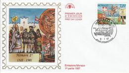 MONACO FDC 1997 DYNASTIE DES GRIMALDI - JEAN 1 Er - FDC