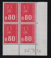 FRANCE  Coin Daté ** Marianne De Becquet  0,80  24.9.74  N° Yvert 1816  Neuf Sans Charnière CD - 1970-1979