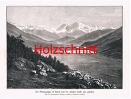038 Würthle: Ortler Ortles Gletscher Berge Großbild Druck 1891!! - Stampe