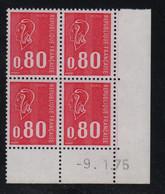 FRANCE  Coin Daté ** Marianne De Becquet  0,80  -9.1.75  N° Yvert 1816  Neuf Sans Charnière CD - 1970-1979