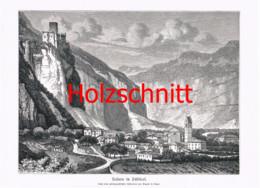 041 Gugler: Salurn Südtirol Salorno Großbild Druck 1891!! - Stampe