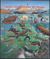 UNO GENF  334-345, Zdr.-Bogen Postfrisch **, Int. Jahr Des Ozeans, 1998 - Blocks & Kleinbögen