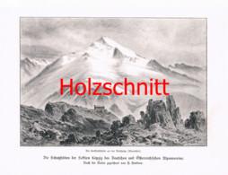 042 Heubner: Lenkjöchlhütte Alpenverein Rifugio Giogo Lungo Großbild Druck 1891!! - Stampe