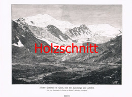 045 Würthle: Monte Cevedale Gletscher Berge Großbild Druck 1891!! - Stampe
