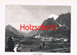046 Würthle: Cortina Ampezzo Dolomiten Großbild Druck 1891!! - Stampe