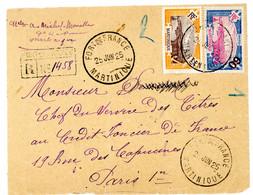 MARTINIQUE DEVANT DE LETTRE 1925 FORT DE FRANCE LETTRE RECOMMANDEE PROVISOIRE => PARIS - Briefe U. Dokumente